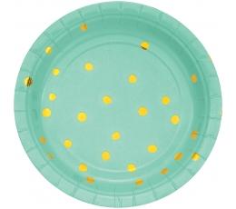 Šķīvīši, piparmētru krāsā ar zeltītiem punktiņiem (8 gab/ 18 cm)