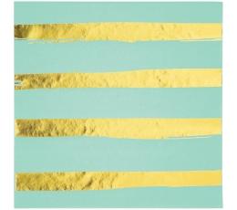 Salvetes, piparmētras krāsas - zelta svītrainas (16 gab)