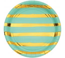 Šķīvīši, piparmētras krāsas ar zeltītām svītrām (8 gab/22 cm)