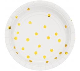 Šķīvīši, balti ar zeltītiem punktiņiem (8 gab/ 18 cm)
