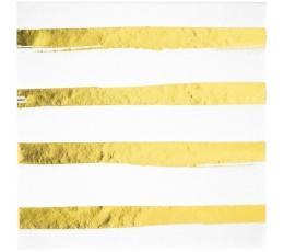 Salvetes, baltas-zeltītas, svītrainas (16 gab)
