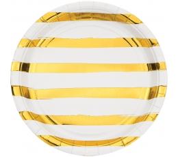 Šķīvīši, balti ar zeltītām svītrām (8 gab/ 22 cm)
