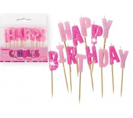 """Svecītes irbulīsi """"Happy birthday"""" , rozā ar spīdumu"""
