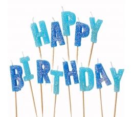 """Svecītes tortei """"Happy birthday"""" , zilas ar spīdumu"""