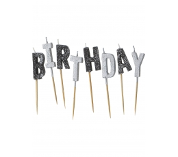 "Svecītes irbulīši ""Happy Birthday"", sudraba - melnas"