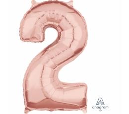 "Folija balons-skaitlis ""2"", rozā-zelts (66 cm)"