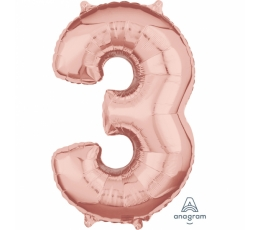 "Folija balons-skaitlis ""3"", rozā-zelts (66 cm)"