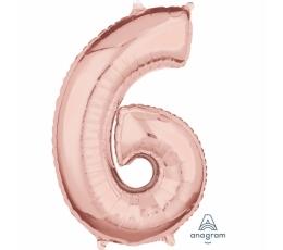 "Folija balons-skaitlis ""6"", rozā-zelts (66 cm)"