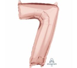 "Folija balons-skaitlis ""7"", rozā-zelts (66 cm)"