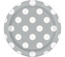 Šķīvīši, sudraba ar punktiem (8 gab/18 cm)