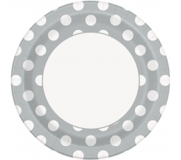 Šķīvīši, sudraba ar punktiem (8 gab/23 cm)