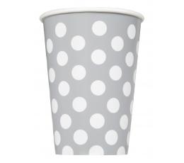 Glāzītes, sudraba ar punktiem (6 gab/355 ml)