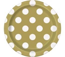 Šķīvīši, zelta ar punktiem (8 gab/18 cm)
