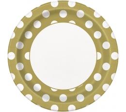 Šķīvīši, zelta ar punktiem (8 gab/23 cm)