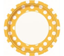 Šķīvīši, dzelteni ar punktiem (8 gab/23 cm)