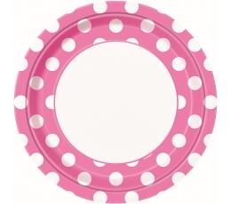 Šķīvīši, rozā ar punktiem (8 gab/23 cm)