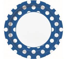 Šķīvīši, zili ar punktiem (8 gab/23 cm)
