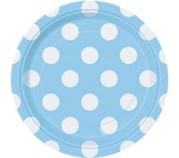 Тарелочки , светло  синие  в горошек  (8 шт/18 см)