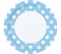 Šķīvīši, gaiši zili ar punktiem (8 gab/23 cm)