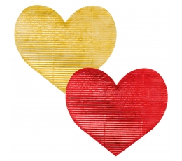 Dekoratīvas gofrētas sirsniņas, sarkanas/ zelta (20 gab / 7 cm)