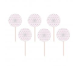 Шпажки с белым веерами, в розовый  горошек (12 шт)