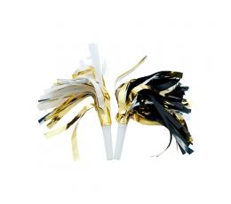 Svilpītes, meln-baltas, zeltītas (6 gab)