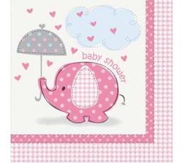 "Salvetes ""Baby shower"", rozā zilonītis (16 gab)"