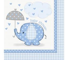 """Salvetes """"Baby shower"""", zils zilonītis (16 gab)"""