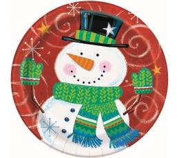 """Šķīvīši """"Līksms sniegavīrs"""" (8 gab/18 cm)"""