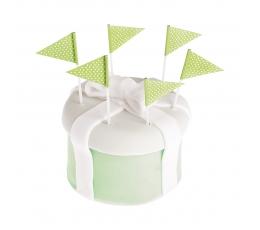 Шпажки - флажки, зеленые в горошек (25 шт)