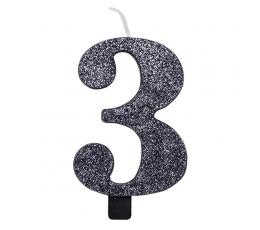 """Svecīte """"3"""", melna -spīdīga"""