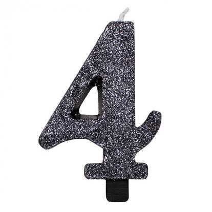 """Svecīte """"4"""", melna -spīdīga"""