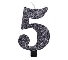 """Svecīte """"5"""", melna -spīdīga"""