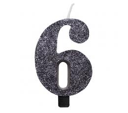 """Svecīte """"6"""", melna -spīdīga"""