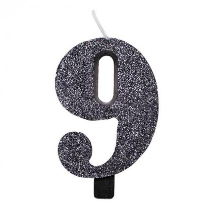 """Svecīte """"9"""", melna -spīdīga"""