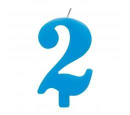 """Svecīte """"2"""" zila sprakstoša"""