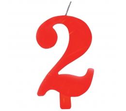 """Svecīte """"2"""" sarkana sprakstoša"""