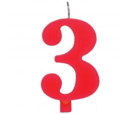 """Svecīte """"3"""" sarkana sprakstoša"""