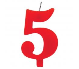 """Svecīte """"5"""" sarkana sprakstoša"""