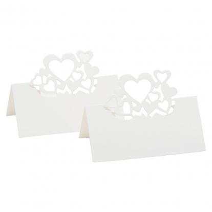 """Galda-vārda kartes """"Sirsniņas"""", perlamutra baltas (10 gab)"""
