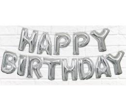 """Фольгированный  шарики """"Happy Birthday"""" , серебряные(35 см)"""