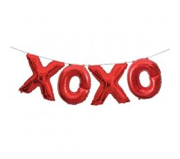 "Folija balons-uzraksts ""XOXO"" , sarkans (35 cm)"