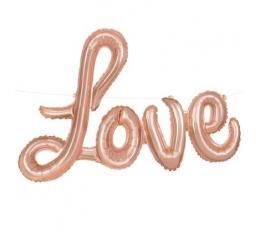 """Folija balons uzraksts """"Love"""", rozā zelta (35 cm)"""