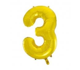 """Folija balons, skaitlis """"3"""",zelta krāsā (85 cm)"""