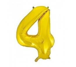 """Folija balons, skaitlis """"4"""",zelta krāsā (85 cm)"""