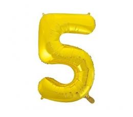 """Folija balons, skaitlis """"5"""",zelta krāsā (85 cm)"""