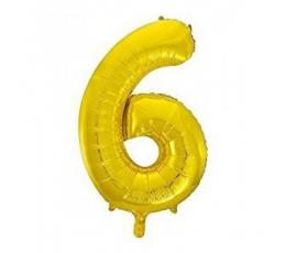 """Folija balons, skaitlis """"6"""",zelta krāsā (85 cm)"""