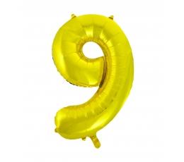 """Folija balons, skaitlis """"9"""",zelta krāsā (85 cm)"""