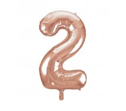 """Фольгированный шарик, цифра """"2"""", розовое золото (85 см)"""