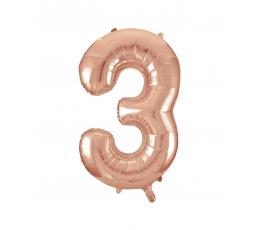 "Folija balons, skaitlis ""3"", rozā zelts (85 cm)"